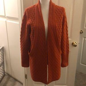 Britton Ivy orange open cardigan